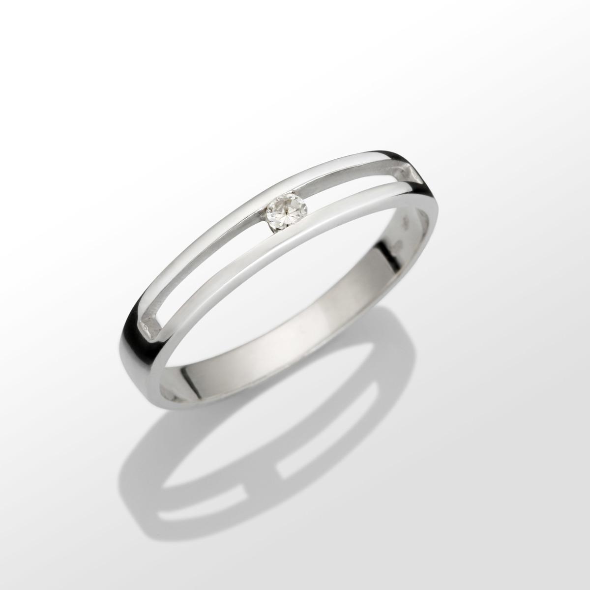 Prsten z bílého zlata Au 585 1000 s briliantem - Red and Cube 028d418598a